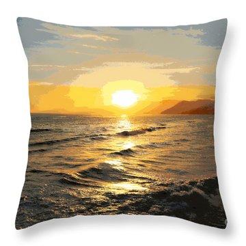 Pacific Sunset Impressionism, Santa Monica, California Throw Pillow