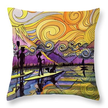 Paddleboarders Frisco Colorado Throw Pillow