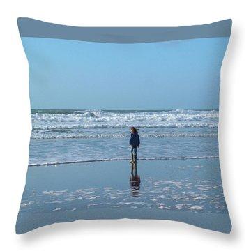 Paddling At Sandymouth Beach North Cornwall Throw Pillow