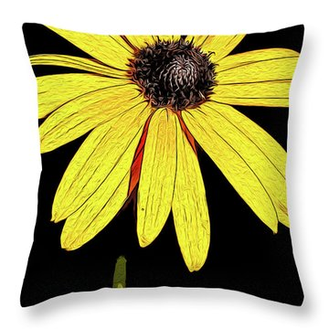 Throw Pillow featuring the mixed media Painted Black-eyed Susan Portrait by Onyonet  Photo Studios