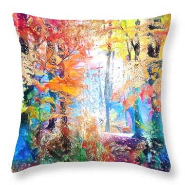 Painted Forest Throw Pillow