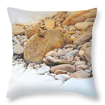 Throw Pillow featuring the painting Painted Lady Butterfly by Alan M Hunt