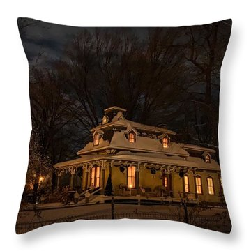 Painted Lady In Winter Throw Pillow