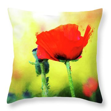 Painted Poppy Abstract Throw Pillow