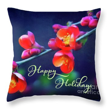 Painted Quince Blossoms Winter Holiday Art Throw Pillow