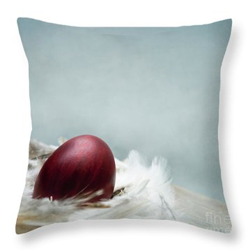 Painted Red Easter Egg In Bird Feather Nest Over Vintage Blue Ar Throw Pillow