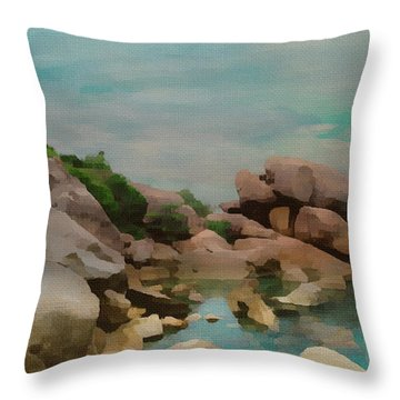 Painted Rocks At Full Tide Throw Pillow