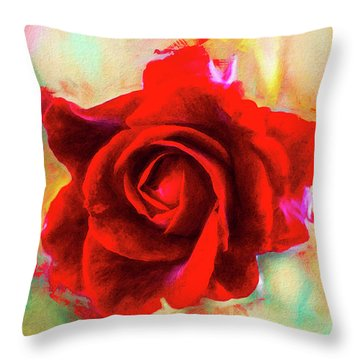 Painted Rose On Colorful Stucco Throw Pillow