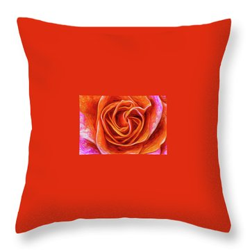 Throw Pillow featuring the mixed media Painted Rose by Onyonet  Photo Studios