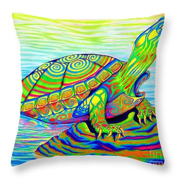 Painted Turtle Throw Pillow