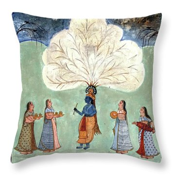 Painting Fresco Of Krishna In The Women's Zenana Throw Pillow