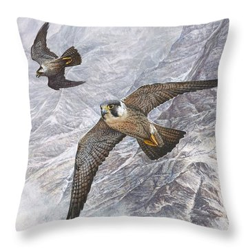 Throw Pillow featuring the painting Pair Of Peregrine Falcons In Flight by Alan M Hunt