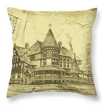 Pair Of Twin Cottages, Hastings Square, Spring Lake, Nj Throw Pillow