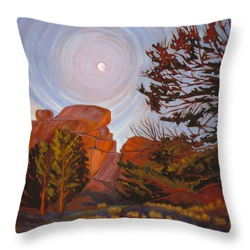 Pale Moon Over Vedauwoo Throw Pillow
