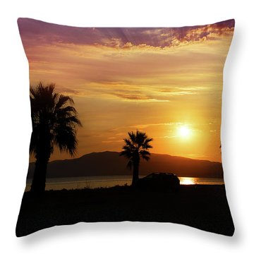 Throw Pillow featuring the photograph Palm Beach In Greece by Milena Ilieva