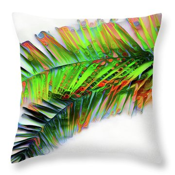 Throw Pillow featuring the digital art Palm Leaf by Pennie McCracken