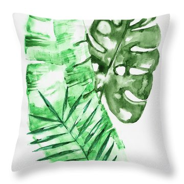 Palm Leaves-banana, Coconut, Monstera Throw Pillow