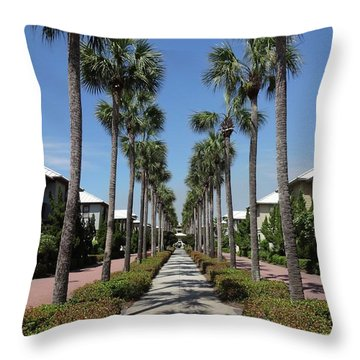 Palm Lined Pathway Throw Pillow