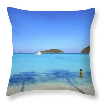 Palm Shadows On The Atlantic Throw Pillow