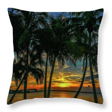 Palm Tree Lagoon Sunrise Throw Pillow
