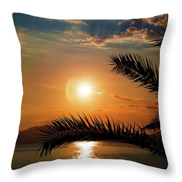 Throw Pillow featuring the photograph Palm Tree On The Beach by Milena Ilieva