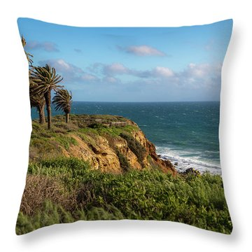 Palm Trees Blowing In The Wind Throw Pillow