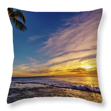Palm Wave Sunset Throw Pillow