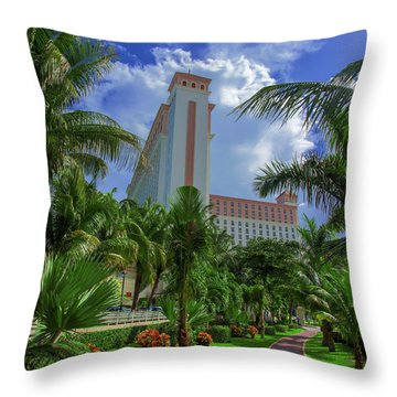 Palms At The Riu Cancun Throw Pillow