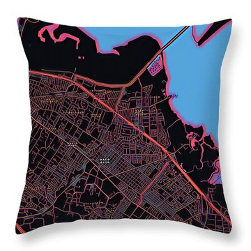 Palo Alto City Map Throw Pillow