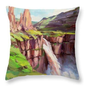Palouse Falls Rush Throw Pillow