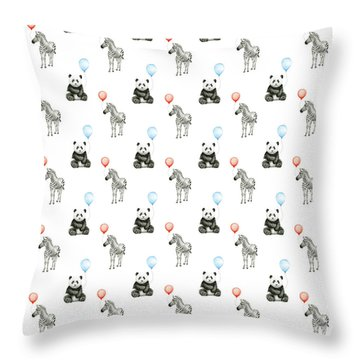 Panda And Zebra With Balloons Pattern Throw Pillow