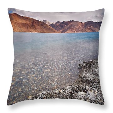 Throw Pillow featuring the photograph Pangong Tso by Whitney Goodey