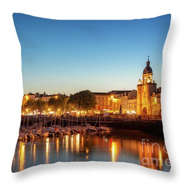 Panorama Of La Rochelle At Night  Throw Pillow