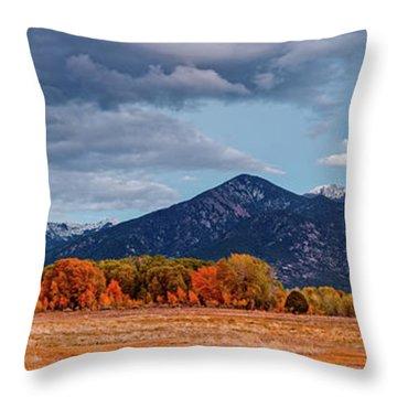Panorama Of Ominous Clouds Above Pueblo Peak And Sangre De Cristo Mountains - Taos New Mexico Throw Pillow