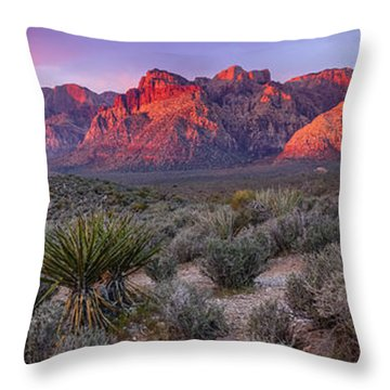 Panorama Of Rainbow Wilderness Red Rock Canyon - Las Vegas Nevada Throw Pillow