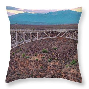 Panorama Of The Rio Grande Del Norte Gorge Bridge And Sangre De Cristo Mountains - Taos New Mexico Throw Pillow
