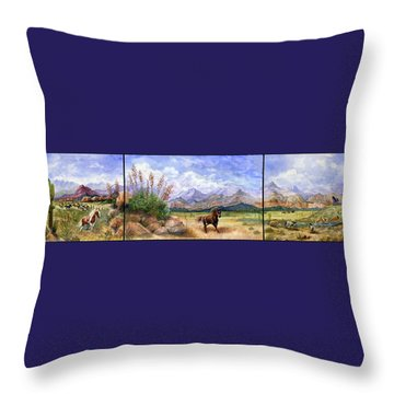 Panorama Triptych Don't Fence Me In  Throw Pillow