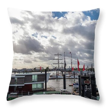 Panoramic View Of Hamburg Throw Pillow