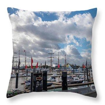 Panoramic View Of Hamburg Throw Pillow