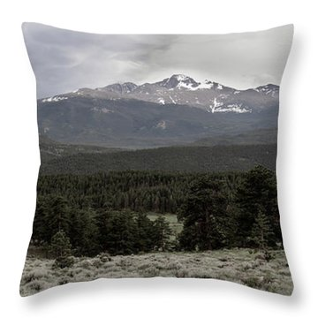 panoramic view of Rocky Mountains Throw Pillow