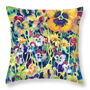 Pansies And Violas Throw Pillow
