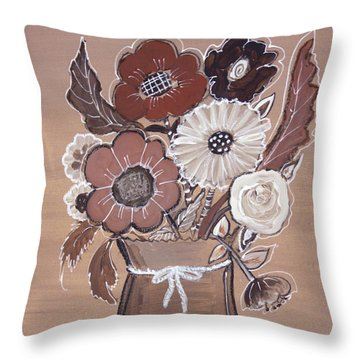 Throw Pillow featuring the painting Paper Bag Bouquet by Robin Maria Pedrero