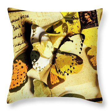 Paper Wings And Inked Out Notes Throw Pillow