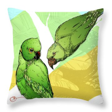 Parakeets Throw Pillow
