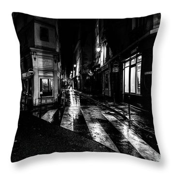 Paris At Night - Rue De Seine Throw Pillow