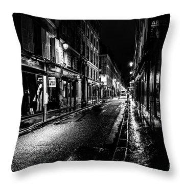 Paris At Night - Rue De Vernueuil Throw Pillow