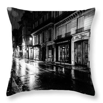 Paris At Night - Rue Saints Peres Throw Pillow