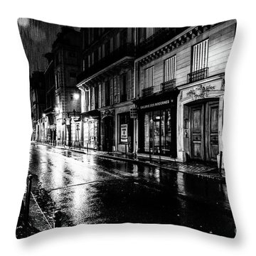 Paris At Night - Rue Saints Peres Throw Pillow