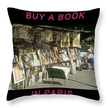 Paris Bookseller Throw Pillow