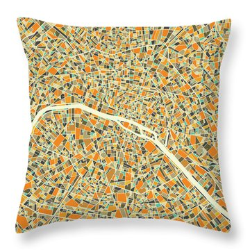 Paris Map 1 Throw Pillow